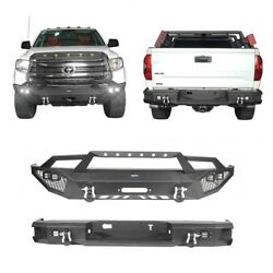 Hooke Road Off-road Steel Front + Rear Bumpers Bar W/led Light For 14-21 Tundra