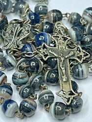 † Scarce Antique French Genuine Swirl Marbled Agate Tiny Rosary 21 14.83 Grs †