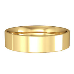 Jewelco London 18ct Yellow Gold 5mm Flat-court Wedding Band Commitment Ring