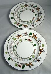 """2coalport England Hunting Scene Dinner Plates Discontinued Pattern 10.75"""" Exc."""