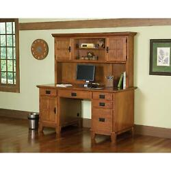 Home Styles Arts And Crafts Pedestal Desk And Hutch Oak