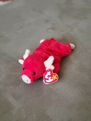Snort Red Bull Style 4002 Ty Beanie Baby Rare With Tags - Retired