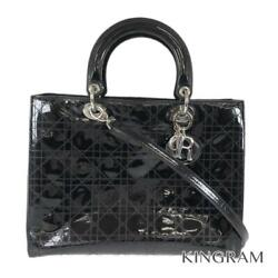 Dior Lady Dior Canage 2way Shoulder Black Patent Leather Tote Bag From Japan