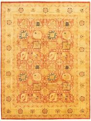 Vintage Tribal Area Rug 9and0391 X 12and0390 Authentic Oushak Hand Knotted Wool Carpet