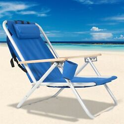 Beach 4-position Lace-up Backpack Folding Beach Chair With Headrest Cup Holder