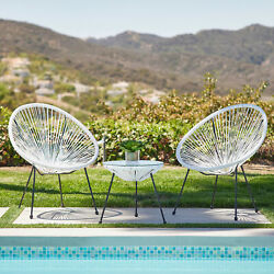 3-piece Acapulco 3 Colors Patio Bistro Set W/ Pe Rattan 2 Chairs And 1 Table