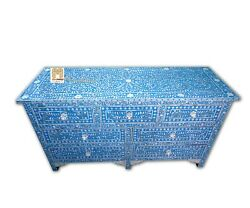 Chest Of 7 Drawers Floral Design Mother Of Pearl In Blue Color Home Decor Furnit