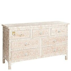 Chest Of 7 Drawers Floral Design Mother Of Pearl In Pale Pink Color Home Decor F