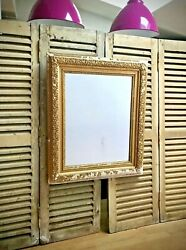 Antique French Giltwood Mirror. Rococo Style Gilded Gesso On Wood. Honfleur.