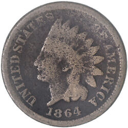 1864 Indian Head Cent Copper-nickel Penny Good Details Rough See Pics H128