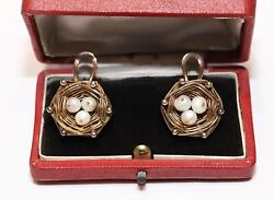 Antique Original Victorian 14k Gold Natural Pearl Decorated Bird Nest Earring
