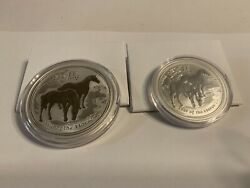 2014 Australian Lunar Ii Year Of The Horse 2 And1 Ounce Set .999 Silver Bu Coins