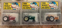1988 World Ag Expo 1/64 Packaged Tractors- Oliver,cockshutt,and Moline.