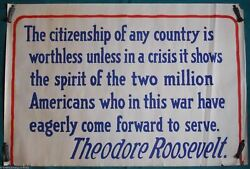 Theodore Roosevelt Military Appreciation Quote Original Wwi Homefront Poster