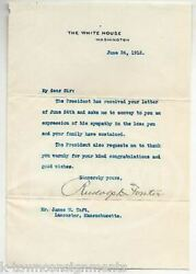 Rudoplh Foster President Taft Chief Of Staff Vintage Autograph Signed Letter