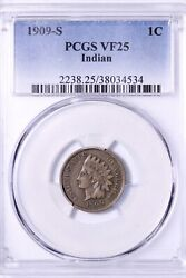 1909-s Indian Head Cent Penny Pcgs Vf25 Excellent Eye Appeal Free Shipping Repx