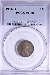 1914-d Lincoln Wheat Cent Penny Pcgs Vg10 Free Shipping Wcbt
