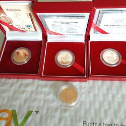 4 1/4 Oz Krugerrand Proof Gold Coins 22 Kt Uncirculated 3 Coins W/coa And Box
