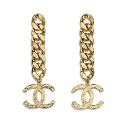 Authentic Gold Sold Out Cc Chain Button Drop Dangle Earrings A20 Clip-on