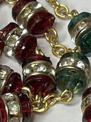† Christmas Vintage Vatican Gold Toned Red And Green Rhinestones Crystal Rosary †