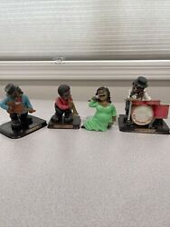 Vintage New Orleans Jazz Figurines Resin Horn Piano Guitar Singer Lot Of 4