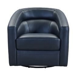 Armen Living Desi Contemporary Swivel Accent Chair In Black Genuine Leather