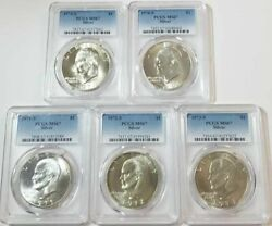 Eisenhower Dollar Lot 1971s To 1976 Silver - Ms 67