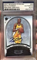 Bowman Sterling Kevin Durant 2007 Kd Rc Rookie Basketball Card Psa Dna F/s