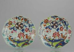 Pair Antique Famille Rose Qianlong Period Plate With Tobacco Leaf Birds Chine...