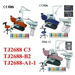 Dental Unit Examination Chair Computer Controlled Hard Leather W/doctor Stool