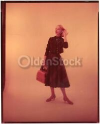 Young Blonde Woman In Tweed Jacket And Skirt Vintage 60s Fashion Photo Negative