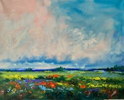 Landscape 16x20 Meadows Clouds Poppies Impressionism Texture Oil Painting