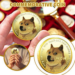 100xgold Dogecoin Coins Commemorative 2021 New Collectors Gold Plated Doge Coin