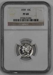 1939 Proof Mercury Dime 10c Silver Ngc Certified Pf 68 Proof - White 004
