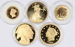 Lot Of 5 Gold-plated St Gaudens Buffalo Liberty Indian Proof Tribute Medals