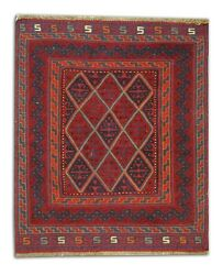 Handmade Carpet Red Wool Area Rug Small Traditional Vintage Oriental 110x115cm