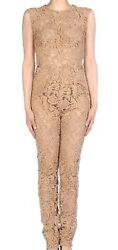 Prada Beige Or Brown Sheer Embroidered Lace Macrame Catsuit Jumpsuit 40 4