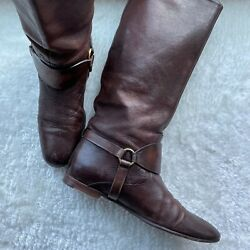 Brown Leather Riding Boots - Size 39 - Box And Dust Bags Msrp 1450