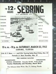 1963 Vintage Advertisement For The 12 Hours Of Sebring Fl Race March 21 22 23