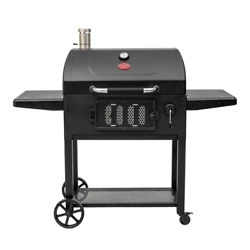 Portable Charcoal Bbq Grill Patio Outdoor Barbecue Cooking 2 Side Shelves Wheels