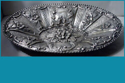 15 1/4andrdquo Forget-me-not Antique Italian 800 Silver Hand Chased Centrepiece No Mono