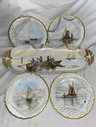D And C Fish Platter And Plates Delinieres Limoges France Fishing Sailboats Antique