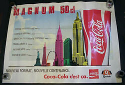 Rare French Coca-cola Poster Empire State Building, Chrysler, Statue Of Liberty