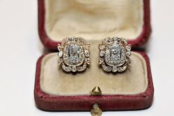 Antique Victorian Style 14k Gold Natural Diamond Decorated Pretty Earring