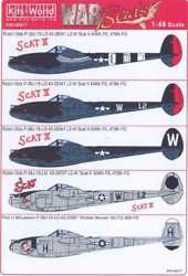 Kits World Decals 1/48 Lockheed P-38j Lightning Robin Olds Scat And Scat Ii