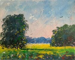 Sunny Summer Day Meadows Original Painting Impressionism Landscape Collectible