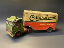 Vintage Consolidated Freight Overland Tin Tractor Trailer Truck Friction Tin Toy