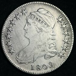 1809 Capped Bust Silver Half Dollar Choice Vf Free Shipping E248 Tpm