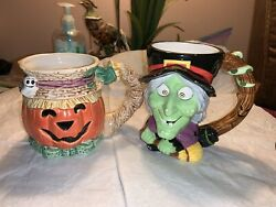 Vintage 1992 Fitz And Floyd Hand Painted Pumpkin And Witch Coffee Cup Mug