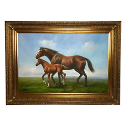 Large English Fine Art 20th Century Oil Painting Mare Horse With Foal Portrait